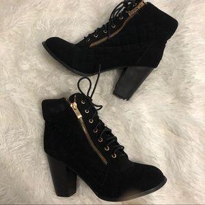Top Moda Lace Up Black Heeled Booties